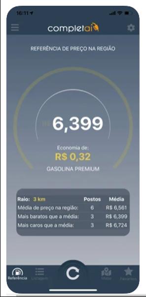Tela do aplicativo para celular completai