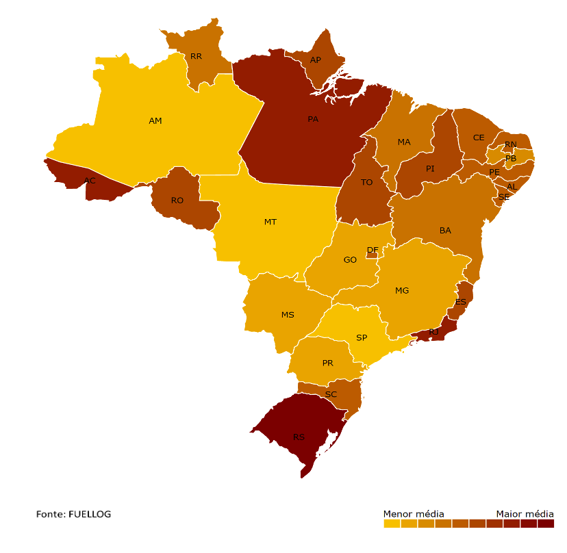 Mapa com a média de preço do Etanol por estado do Brasil
