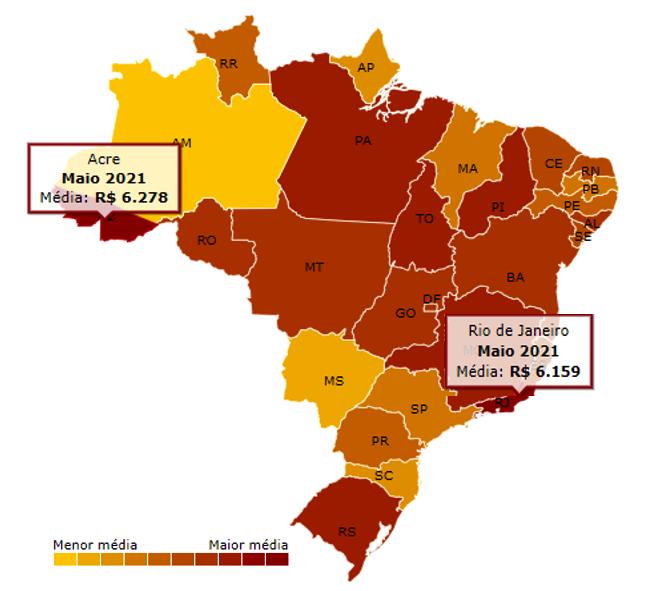 Mapa do Brasil com a média no preço da gasolina