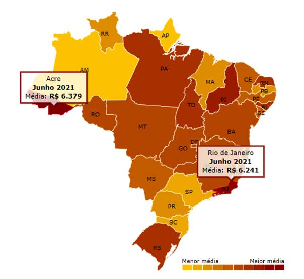 Mapa com a média no preço da gasolina comum por estado do Brasil