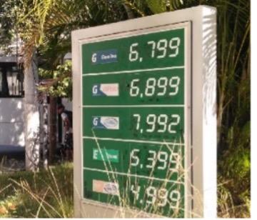 Tabela com preço dos combustíveis nos postos