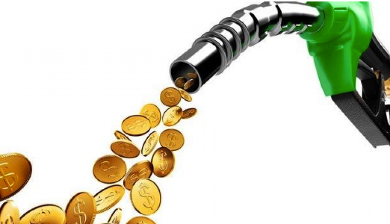 mangueira de gasolina despejando moedas