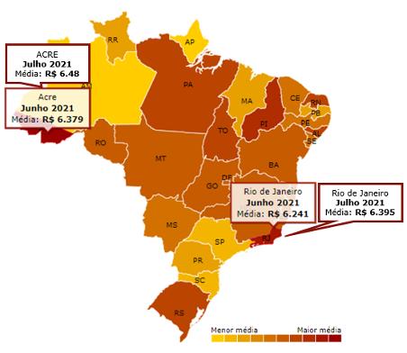 Mapa do Brasil com o preço da gasolina