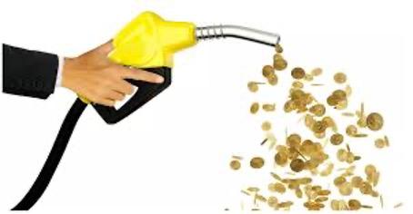 Bomba de gasolina jorrando moedas