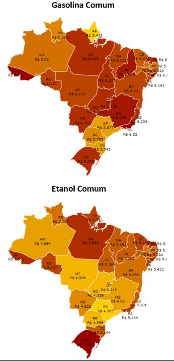 preço dos combustíveis por estado do Brasil